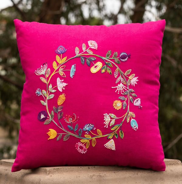Embroidered-Wreath-Cushion